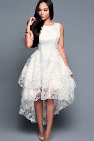 White Lace Mesh Ruffles Layered  High Low Party Dress