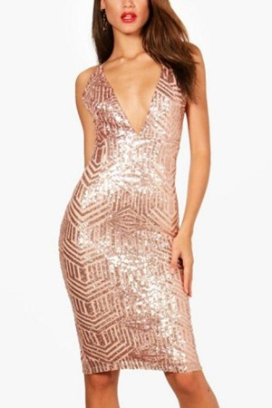 Pink Plunging Sequins Slit  Party Dress