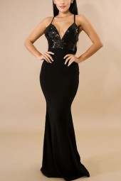 Black Sequin Splicing Plunging Backless  Maxi Mermaid Dress