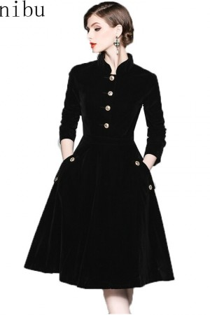 Elegant Black Velvet Winter Dress Retro Audrey Hepburn Long