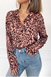 Blouses Summer Chiffon Leopard Blouse Long Sleeve Turn Down Collar Lady Office Shirt Loose Tops Plus Size Blusas Chemisier