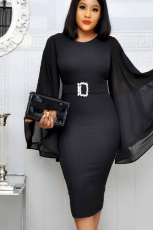 Elegant Party Dress Black Office Chiffon Flare Long Sleeve