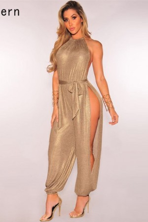 Metallic Slit Leg Harem Jumpsuits Rompers Stylish Gold