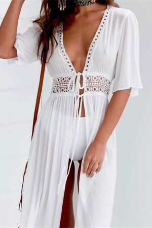 Ladies Bikini Cover Up Beach White Dress Swimwear Beachwear Bathing Suit Summer Dress