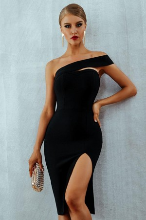 Est Summer Celebrity Party Bandage Black Sleeveless Oneshoulder Split Night Out Club Vestidos