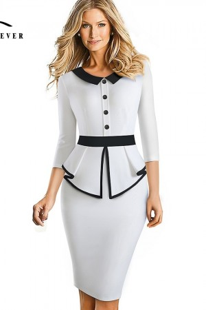 Niceforever Elegant Contrast Color Patchwork Office With Botton Ruffle Vestidos Business Formal Winter Bodycon Dress