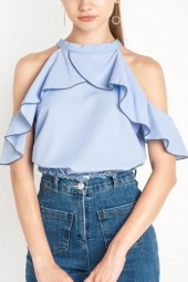 Light Blue High Neck Cold Shoulder Ruffled Chic Top