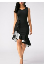 Black Peplum Hem Sleeveless Sheath Dress