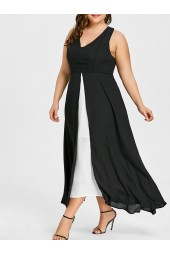 Plus Size Slit Two Tone Black Dress