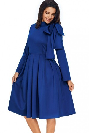 Dark Blue High Collar Bow Tied Pleated Long Sleeve A Line Midi Dress
