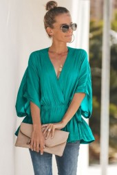 Teal Wrap Peplum Bat Sleeve V Neck Casual Blouse