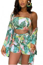 Ummer Women Boho Pc Floral Cardigan Bloue+crop Top+hort Lady Holiday Beach Three Piece Et Caual Hort Et
