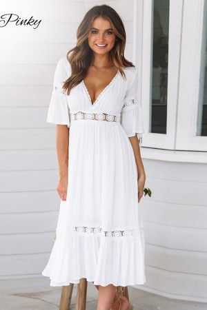 White Lace Up Long Summer Vneck Hollow Out Party Bohemian Dress