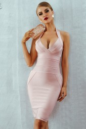 Summer Bandage Dress Vestidos Verano Halter Backless Sleeveless Bodycon Clubwear Celebrity Party Dress
