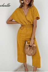 Yellow Jumpsuits Rompers Summer Casual Dots Vneck Pocket Overalls Short Sleeve Wide Leg Loose Jumpsuit Chiffon