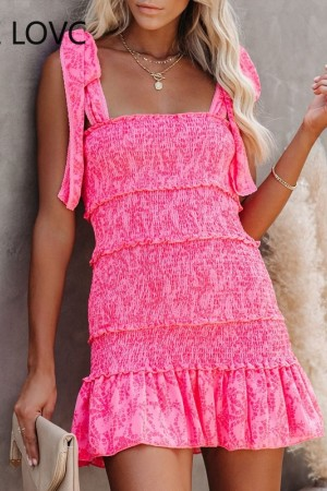 Tiered Ruffle Ruched Cami Casual Elegant Chic Dress